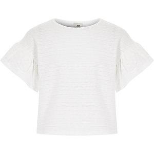 Girls white frill sleeve T-shirt