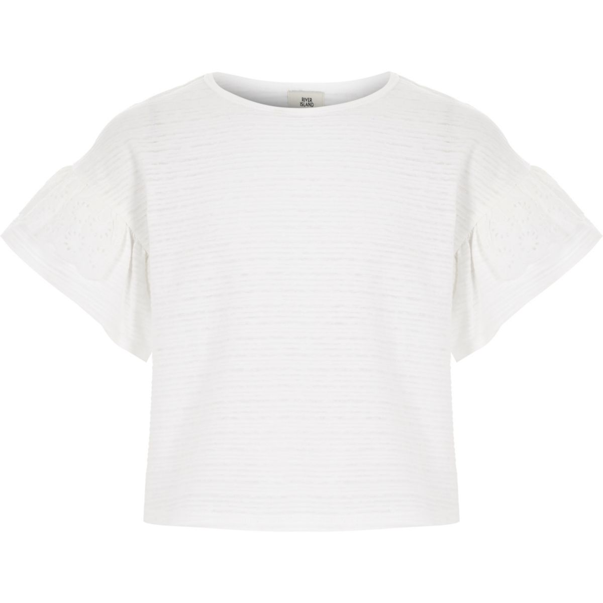 Girls white frill sleeve T-shirt