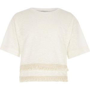 T-shirt en tissu flammé crème à franges pour fille