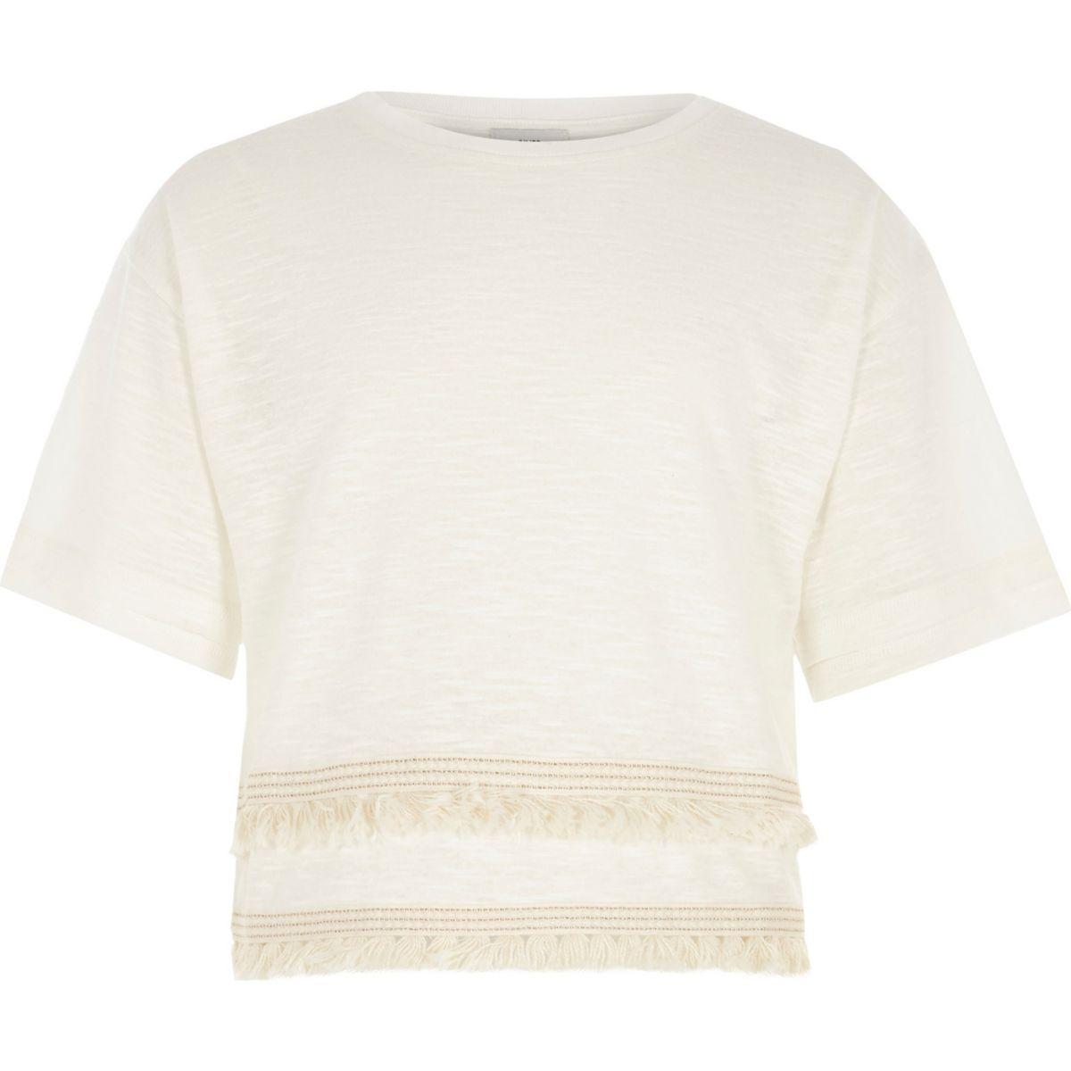 Girls cream slub fringe tape T-shirt