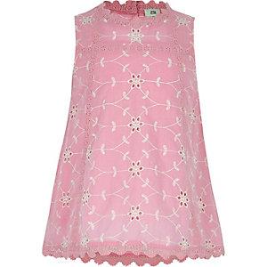 Roze geborduurde swingtop met ronde hals voor meisjes