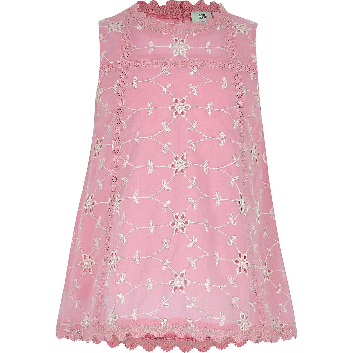 Girls pink broderie round neck swing top