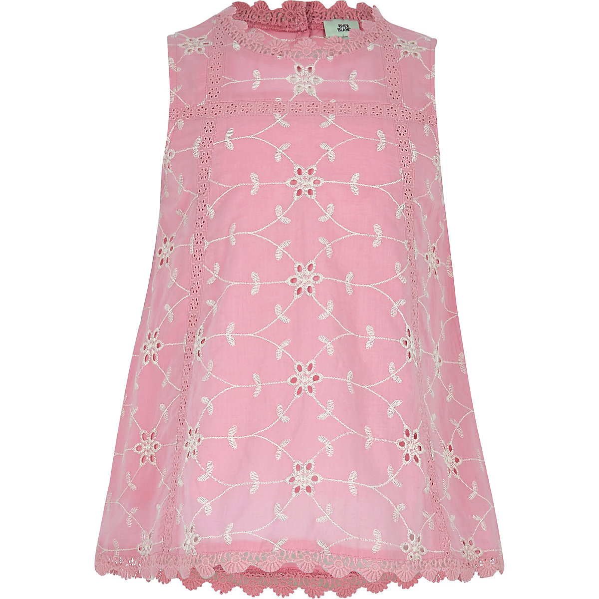 Girls pink broderie round neck swing top