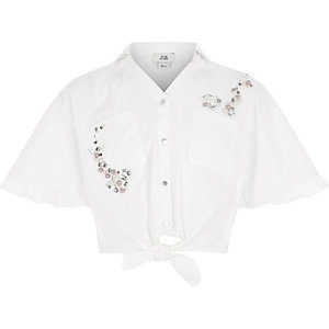 Girls white frill sleeve crop tie shirt