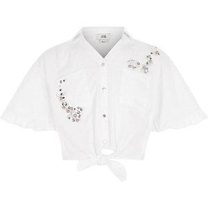 Girls white frill sleeve crop tie shirt