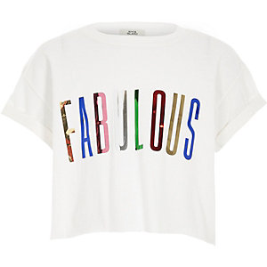Wit T-shirt met 'fabulous' in folieprint voor meisjes