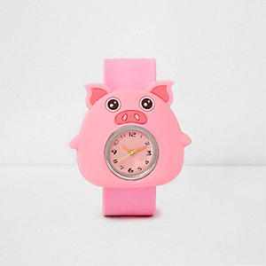 Girls pink pig snap on watch