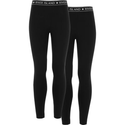 Girls Black Ri Waistband Leggings Pack by River Island