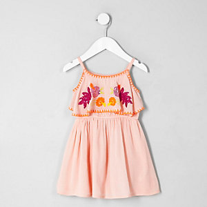 Roze jurk met dubbele laag, pailletten en bloemenprint voor meisjes