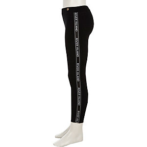 Girls black RI tape leggings