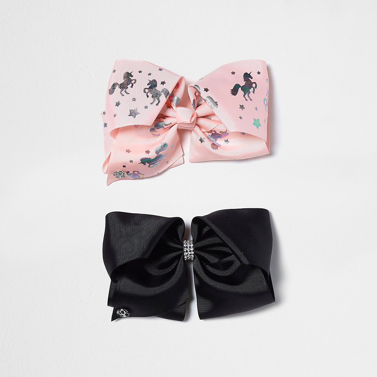 Girls pink and black unicorn JoJo Bows pack