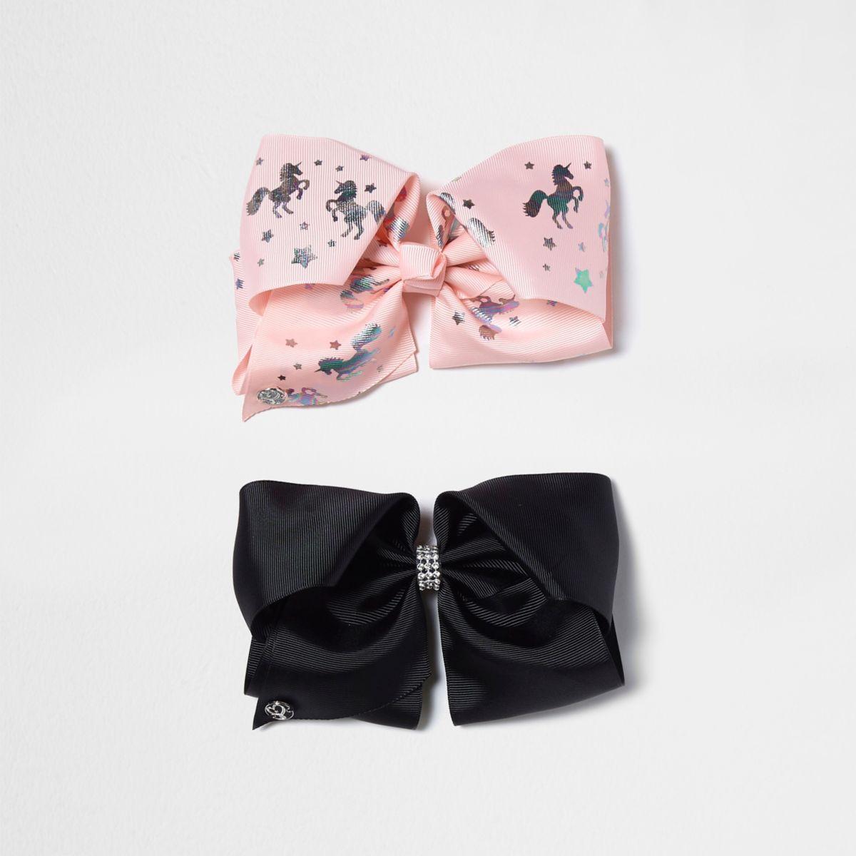 JoJo – Einhorn-Schleifen in Pink und Schwarz, Set