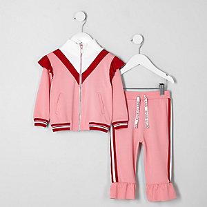 Mini - Outfit met roze trainingsjack met ruches en RI-logo voor meisjes