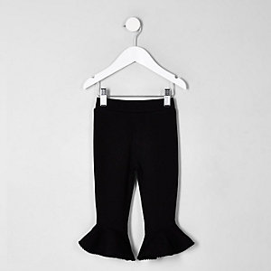 Mini girls black flute hem leggings