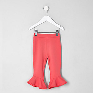 Mini girls pink flute hem leggings