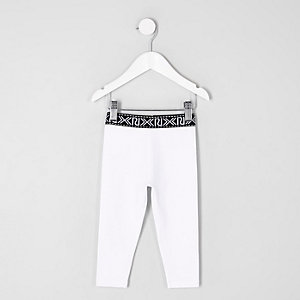 Mini girls white RI branded leggings