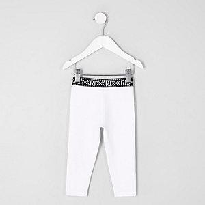 Mini - Witte legging met RI-logo voor meisjes