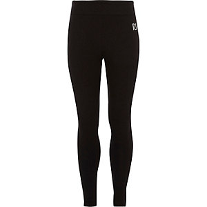 Girls black RI branded fold over leggings