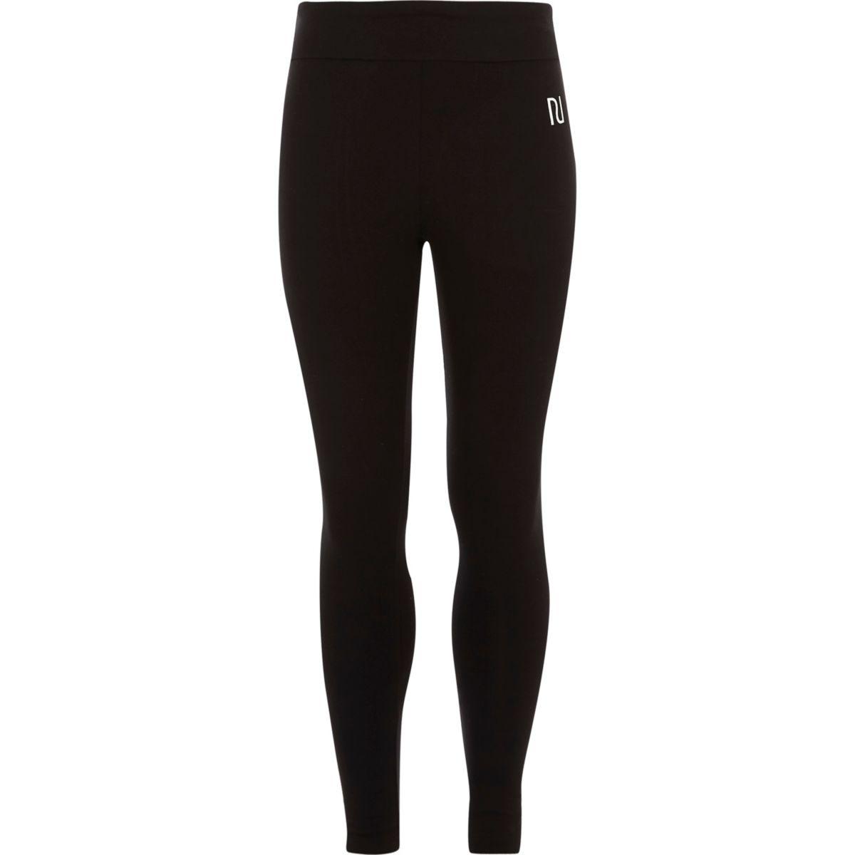 Girls black RI branded fold over leggings