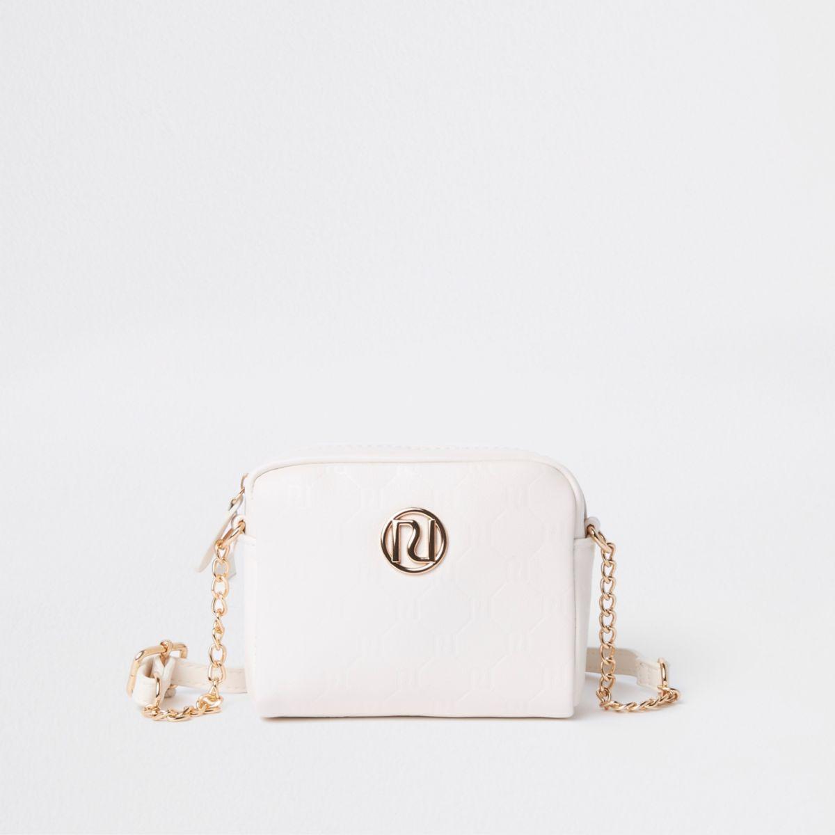 Girls white RI monogram cross body chain bag