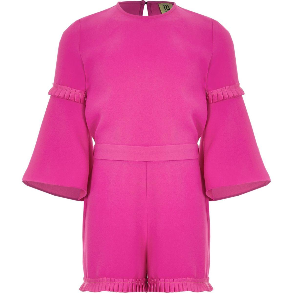 Girls pink RI Studio pleated jumpsuit