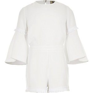 Girls white RI Studio pleated jumpsuit