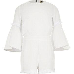 RI Studio - Witte jumpsuit met plooien voor meisjes