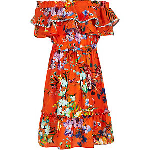 Girls orange floral print frill bardot dress