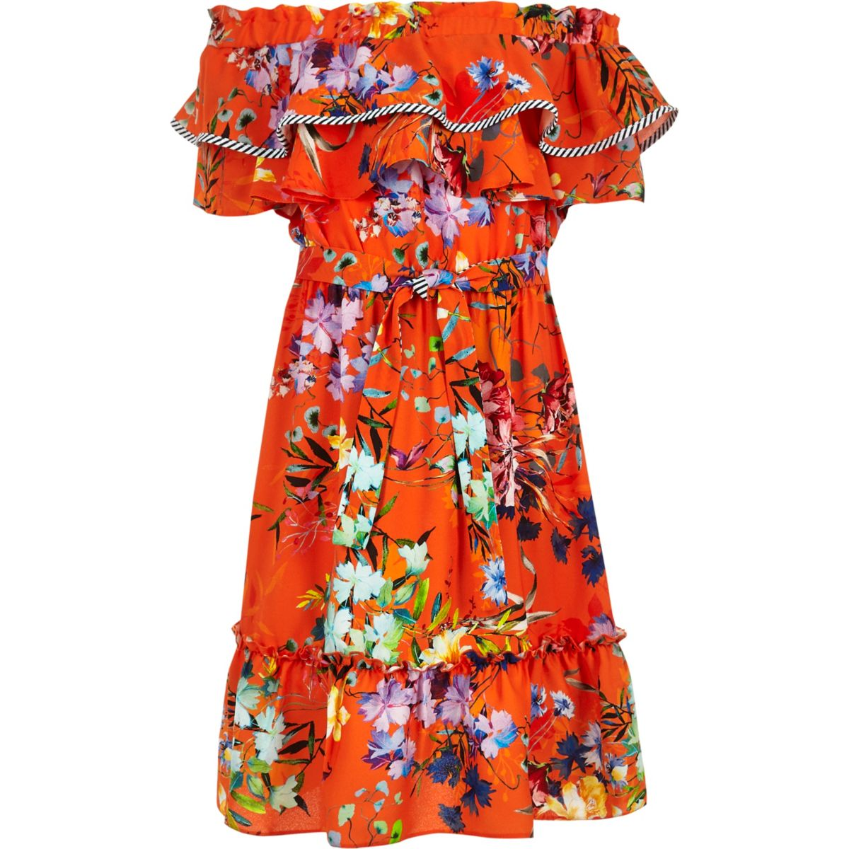 Girls orange RI Studio floral bardot dress