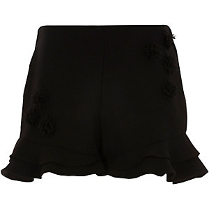 Girls black RI Studio frill short
