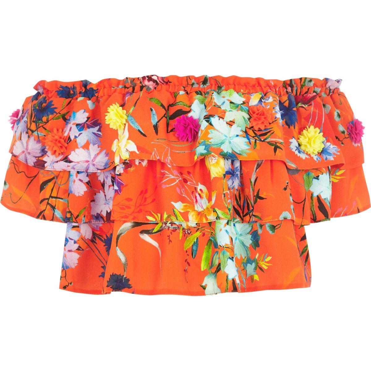 RI Studio – Top orange à fleurs et volant pour fille