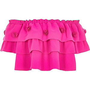Girls pink RI Studio frill layered top