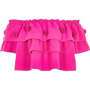 RI Studio - Roze gelaagde top met ruches voor meisjes