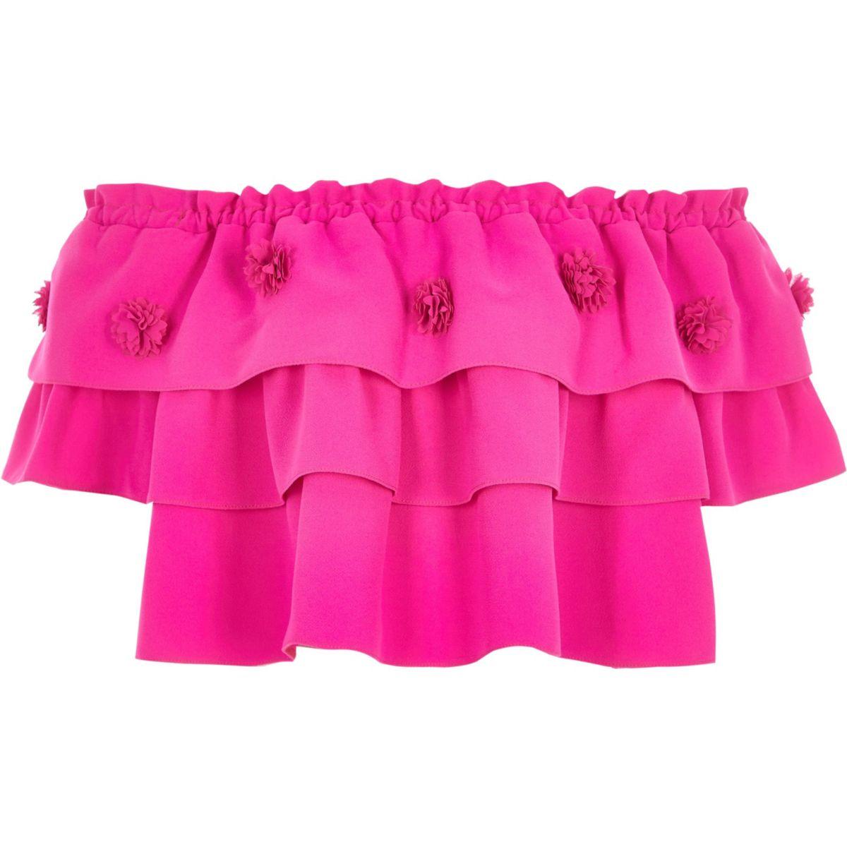 Girls pink RI Studio frill layered top