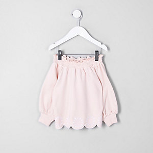 Sweat Bardot rose brodé mini fille