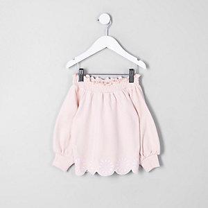Mini - Roze geborduurd sweatshirt in bardotstijl voor meisjes