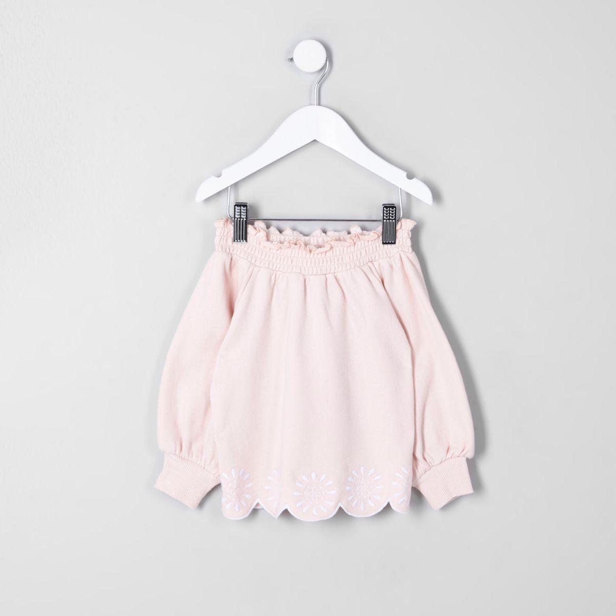 Mini girls pink embroidered bardot sweatshirt