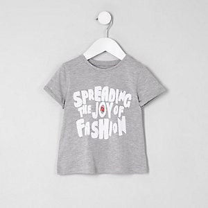 Mini girls grey 'spreading the joy' T-shirt