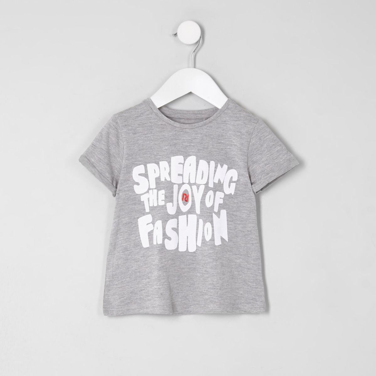 Mini girls grey 'spreading the joy' T-shirt