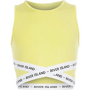 Gele elastische crop top met bandjes voor meisjes