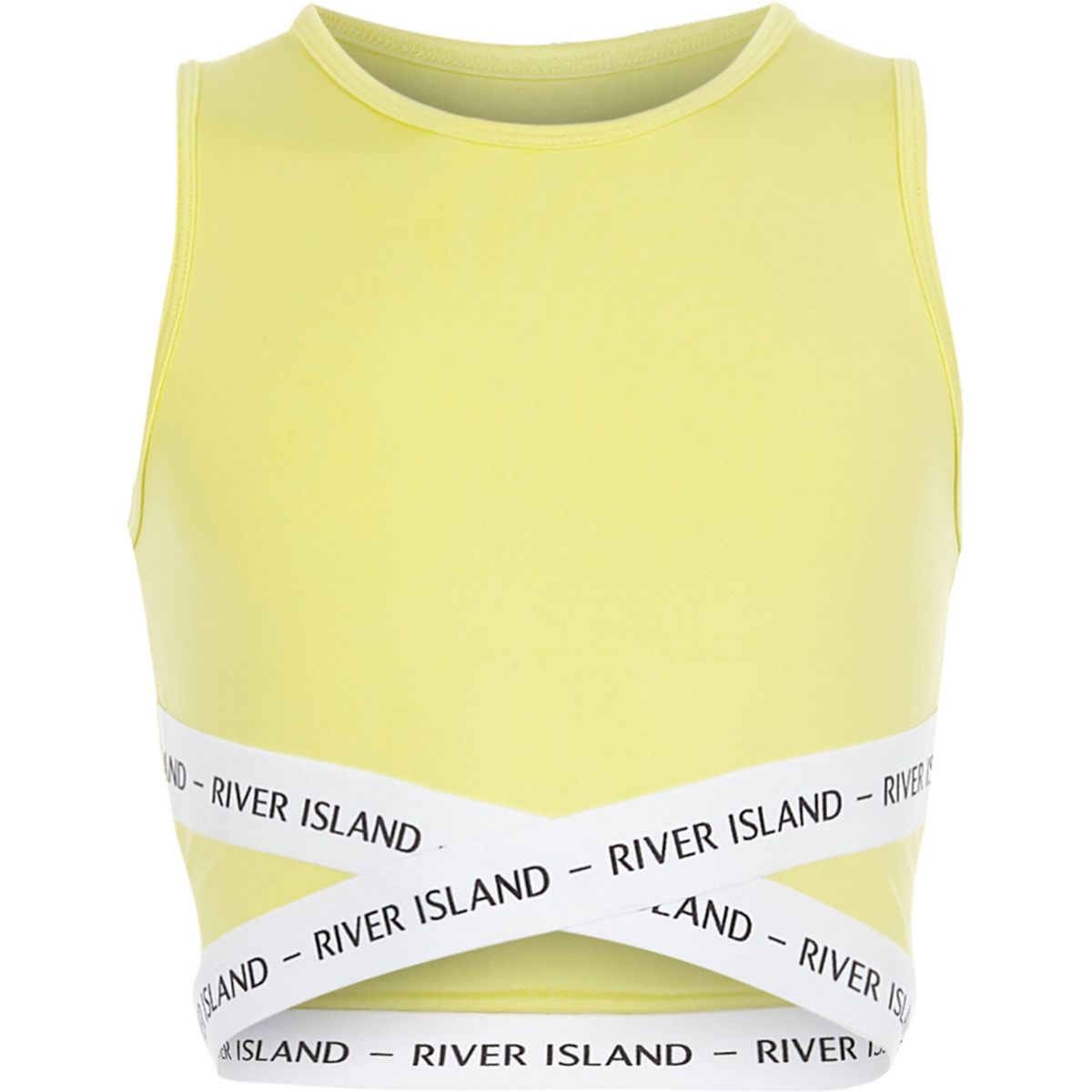 Girls yellow strappy elastic crop top