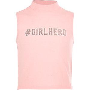 Tanktop met col en '#Girlhero'-print voor meisjes