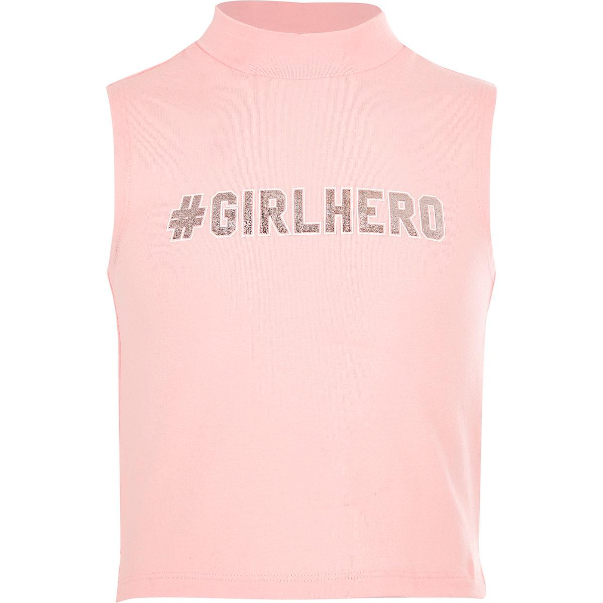 Girls '#Girlhero' turtleneck tank top