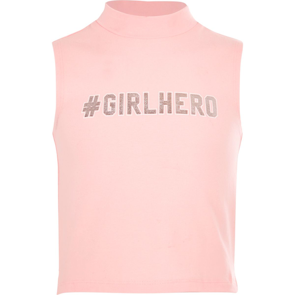 Girls '#Girlhero' turtleneck tank top