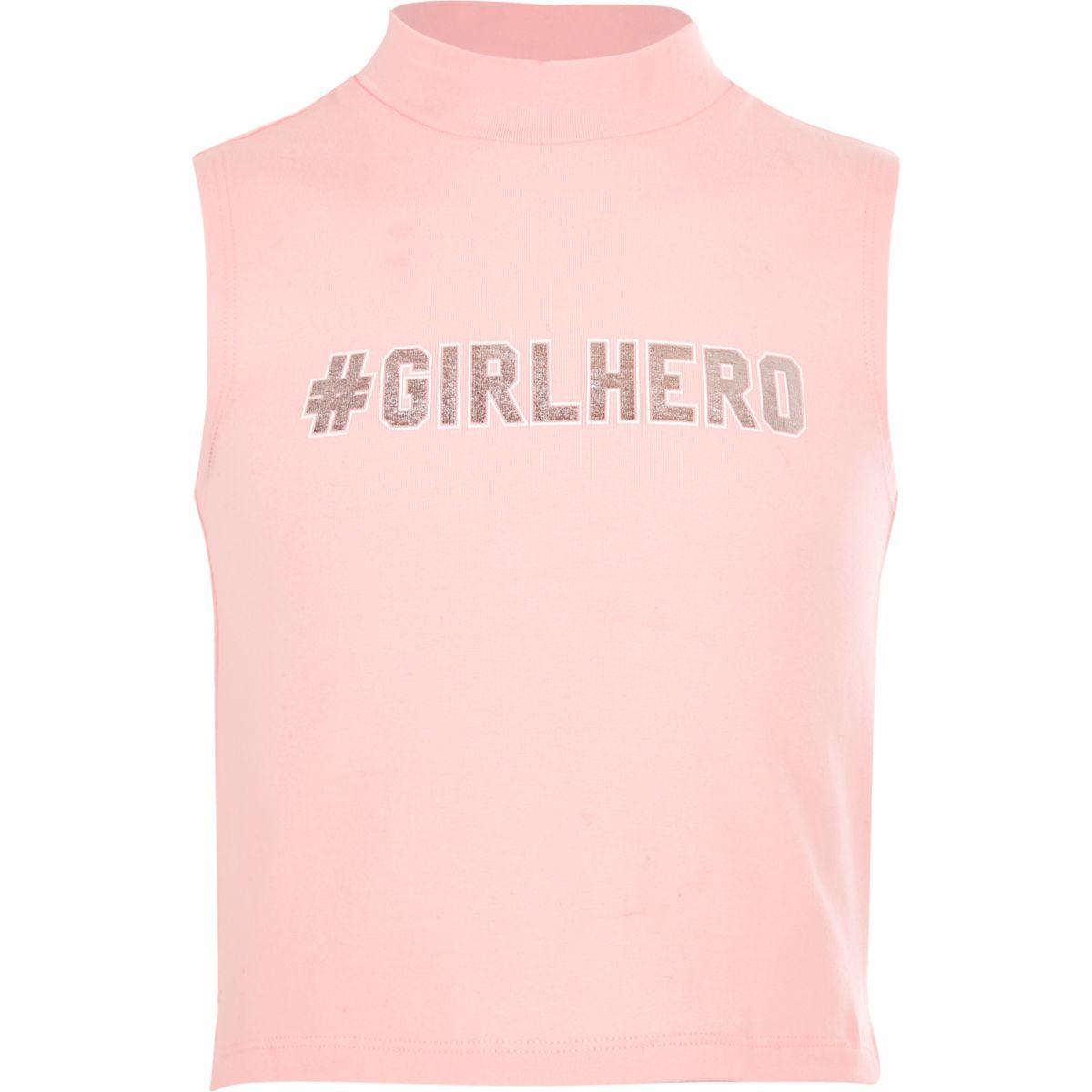 Débardeur à col roulé « #Girlhero » pour fille