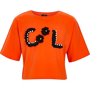 Oranje cropped T-shirt met 3D bloem voor meisjes