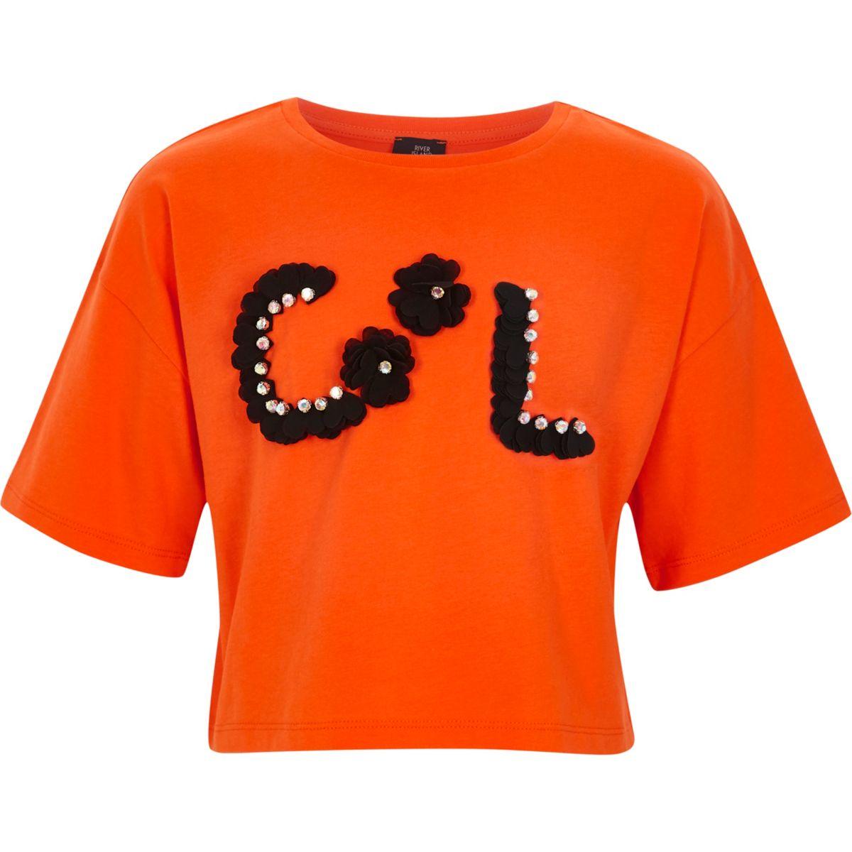 T-shirt court orange à fleurs en 3D pour fille