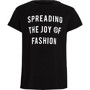 Zwart T-shirt met 'joy of fashion'-print voor meisjes