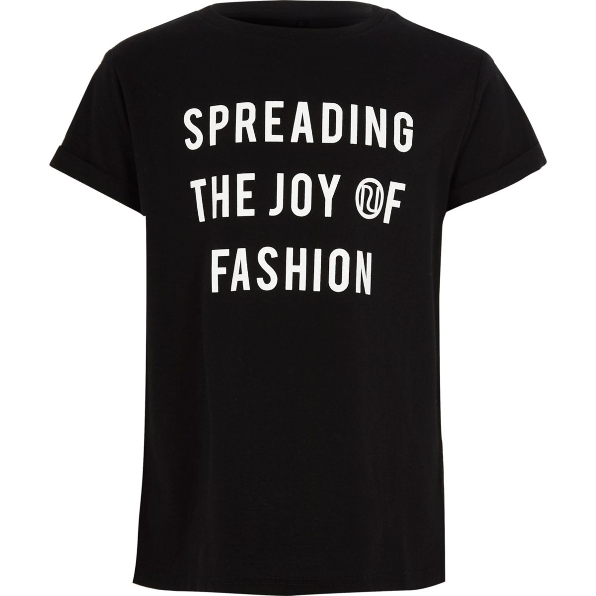 Girls black 'joy of fashion' print T-shirt