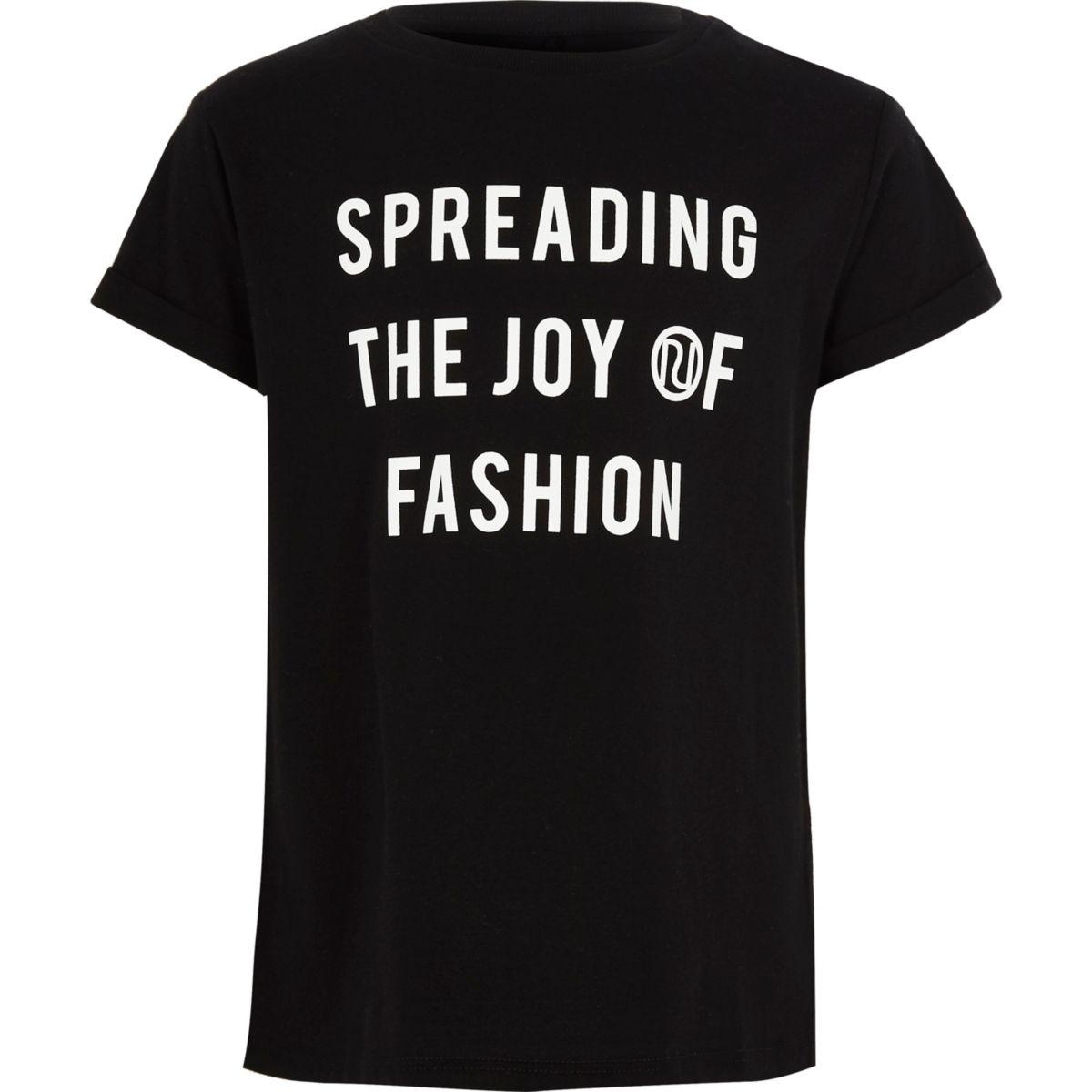 Girls black 'joy of fashion' print T-shirt